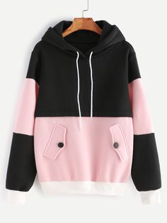 SheIn offers Color Block Drawstring Hooded Sweatshirt & more to fit your fashionable needs. Fashion Mode, Korean Fashion, Fashion Outfits, Fleece Hoodie, Hooded Sweatshirts, Cotton Hoodies, Pink Hoodies, Dress For You, Sweet Shirt
