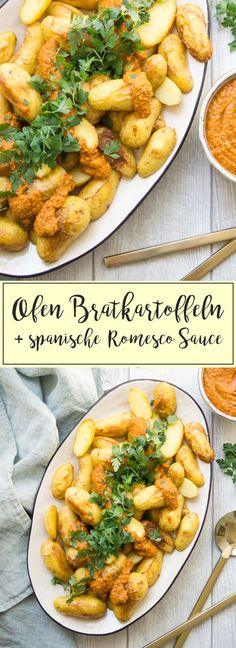 Ein einfaches und geschmackvolles Rezept für Ofe-Bratkartoffeln und eine spanische Romesco Sauce. Diese Soße ist eine perfekte Kombination aus schnell, einfach und köstlich. Sie wird mit gerösteter roter Paprika, Mandeln, Tomaten, Petersilie und Gewürzen gemacht. Die Romesco Sauce passt sehr gut zu allen Arten von Gemüse, Geflügel und Fisch. #rezept #einfach #gesund #kochen #essen #kartoffeln #spanisch #lecker #Romesco #sauce #soße
