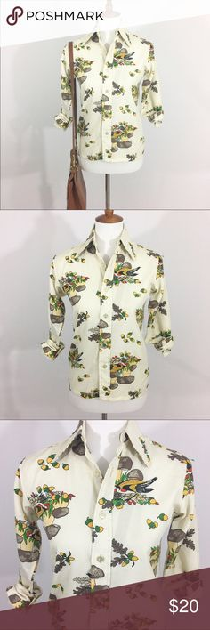 """70s mushroom print blouse 70s mushroom print blouse • Size Small. Chest 17"""", Sleeve 27"""", Length 24"""" *** Measurements taken with garment laid flat.  100% polyester. No try-ons please. Vintage Tops Blouses"""