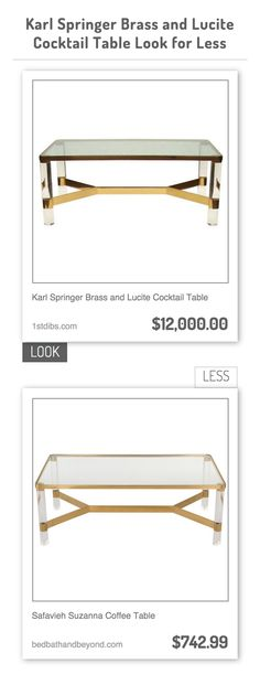 Karl Springer Brass And Lucite Cocktail Table Vs Safavieh Suzanna Coffee Table
