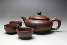 """400ml Handmade """"Yixing"""" Ceramic Teapot and 3 Cups of 50ml //Price: $35.99 & FREE Shipping //     #teatime"""