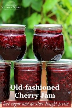 This low sugar no pectin cherry jam recipe is perfect for preserving cherries for all year long. Easy, frugal, and high on taste! Cherry Jam Recipe Without Pectin, Cherry Jam Recipes, Jelly Recipes, Fruit Recipes, Sour Cherry Jam, Dried Cherry Jam Recipe, Sugar Free Cherry Jam Recipe, Cherry Recipes Healthy, Recipes