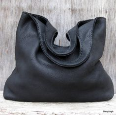 Slouchy Black Leather Tote Bag