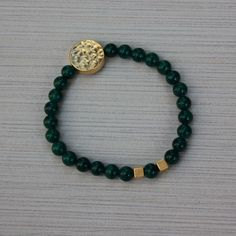 Women Bracelet 6mm Green Beads with Gold charm