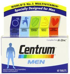 Centrum Men is a complete daily multivitamin formulated with specially balanced nutrient combinations to help support health and wellbeing. Contains vitamin C which is important for the normal function of the immune system, calcium, magnesium and vitamin D which contribute to normal muscle function and includes B vitamins and Iron to help support daily energy metabolism ...  http://www.vitalwebshop.info/produkt/centrum-multivitamins-for-men-pack-of-60/