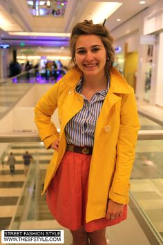 STREET FASHION STYLE: A San Francisco and New York Street Style Blog (SF to NYC!): Yellow Lightweight Peacoat   Classic Blue/White Stripes   Pink Skirt - San Francisco