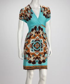 3004d2a01ad7 Turquoise   Brown Abstract Blossom Dress - Women   Plus
