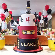 Ninja Birthday Cake Ninjago Birthday Cake And Cake Pops Ninjago Cake P… Ninja Turtle Birthday Cake, Ninja Cake, Ninja Birthday Parties, 7th Birthday, Birthday Ideas, Lego Ninjago Cake, Ninjago Party, Lego Cake, Superhero Cake