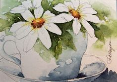 Daily Watercolors: Daisies in Teacup