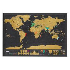 NEW HOT Deluxe Scratch Map black mapa creative scratch off map travel scratch world map mapa mundi rascar x World Map Travel, Travel Maps, World Map Poster, World Map Wall, Machado Viking, Vintage Travel, Vintage World Maps, Best Decor, Interactive Art
