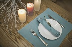 Blue linen napkins. Table placemats. Kitchen and Dining. Set of 4, 6, 8. Set of linen by MagicLinen on Etsy