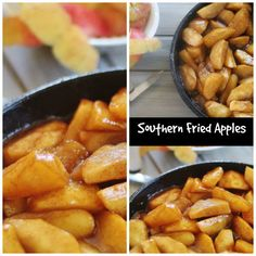 Southern Fried Apples.  Cooked in butter, brown sugar and spices in a cast iron skillet..  A popular southern breakfast side.