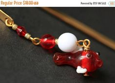 EASTER SALE Beaded Bookmark. Red Fish Bookmark. Red Fish Book Hook. Lampwork Glass Red Fish Book Charm. Handmade Bookmark. by Gilliauna from Bits n Beads by Gilliauna. Find it now at http://ift.tt/2oqSS3f!