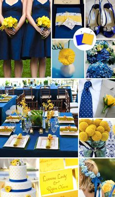 Royal Blue + marigold = preppy summer wedding