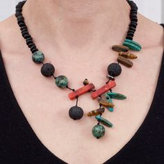 Necklace | Natassa from NatArt Jewellery.  Obsidian, lava stone, tiger eye, sponge coral, feltspat.