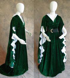 Green Velvet Scalloped Sleeve Renaissance