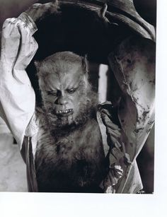Nice still of Roy Ashton's make-up for Oliver Reed in THE CURSE OF THE WEREWOLF (1961)