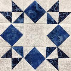 Moonlight Star Quilt Block - Blue & White Sampler