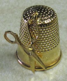 Vintage Gold Toned Thimble with Miniature Scissors Attached New | eBay