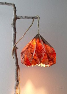 3 easy steps to make a beautiful DIY pendant light with a stylish origami DIY lampshade from up-cycled paper grocery bag, and creative hanging lamp support structures. Lantern Light Fixture, Lantern Pendant Lighting, Paper Lantern Lights, Diy Pendant Light, Diy Paper Lanterns, Pendant Chandelier, Diy Light, Pendant Lights, Diy Mason Jar Lights