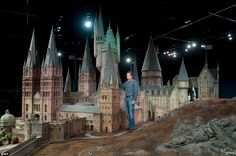 Proud: Jose Granell, model supervisor, is pictured with the model of Hogwarts Castle. It has been used for every one of the Harry Potter fil...