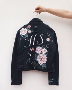 Hand painted leather jacket by Wolf & Rosie.