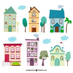 Colorful Vintage Houses Free Vector