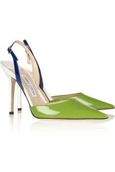 Jimmy Choo | Volt color-block patent-leather slingbacks