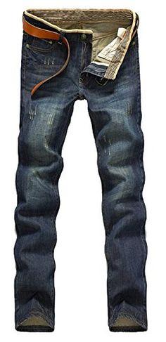 Mega Shop | Amoin Men's Stylish Slim Fit Straight Leg Jeans Trousers