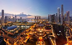 Download wallpapers 4k, Singapore, modern architecture, evening city, cityscapes, Asia