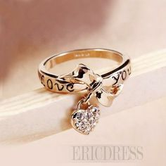 LOVE YOU Golden Bowkont Lady's Special Ring Rings- ericdress.com 10788610
