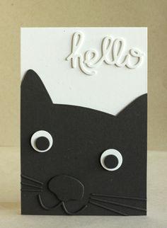 Really Cute Hello Card Design with a handsom kitty! Kids Birthday Cards, Handmade Birthday Cards, Card Birthday, Diy Birthday, Dog Cards, Kids Cards, Tarjetas Diy, Karten Diy, Paper Cards