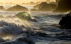 Beautiful lighting, Healthy ocean, Patience, and respect. This is the result. Taken north of San Francisco, California. Computer Wallpaper, New Wallpaper, Nature Wallpaper, Wallpapers For Mobile Phones, Desktop Wallpapers, Fired Earth, San Francisco California, Places To Go, Waves