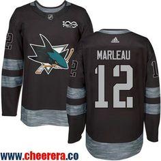 Men's San Jose Sharks #12 Patrick Marleau Black 100th Anniversary Stitched NHL 2017 adidas Hockey Jersey