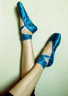 Well Worn Chacott Turquoise Pointe Ballet Slipper Shoes Balett Trashed | eBay