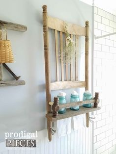 Rustic Farmhouse Shelf Made from a Rocking Chair and Reclaimed Barn Wood by Prodigal Pieces | www.prodigalpiece...
