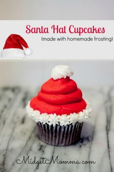 These Sanata hat cupcakes are easy to make, make with your favorite cake recipe and with Homemade Icing. They make a great Christmas Party Treat. These Santa Hat Chrimstas cupcakes are Christmas desserts that kids will love Christmas Party Food, Christmas Sweets, Christmas Cooking, Holiday Desserts, Holiday Baking, Holiday Treats, Holiday Recipes, Holiday Cupcakes, Santa Cupcakes