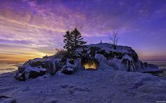 пещера, скала, зима