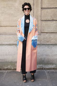 The Best Street Style At Paris Fashion Week SS17 #refinery29  http://www.refinery29.uk/2016/10/124657/street-style-paris-fashion-week-ss17#slide-17  Beaufille was the brand everyone was wearing to the shows and this polo neck was worn by all our favourite dressers. Yasmin Sewell wears hers under a velvet-trimmed Hillier Bartley coat. ...
