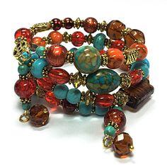 Turquoise & Orange Wrap Bracelet - Beaded Memory Wire Bracelet