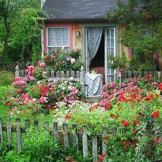 Cottage shed with roses garden cottage Cottage Garden with Flower Carpet roses Garden Cottage, Cottage Homes, Cottage Front Yard, Farmhouse Garden, Garden Living, Witch's Garden, Backyard Cottage, Cacti Garden, Garden Shrubs