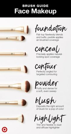 guide for what face brush to use when. Shop the Target-exclusive Sonia Kashuk A guide for what face brush to use when. Shop the Target-exclusive Sonia Kashuk . -A guide for what face brush to use when. Shop the Target-exclusive Sonia Kashuk . Makeup Brush Uses, Makeup 101, Makeup Guide, Makeup Hacks, Makeup Tools, Makeup Inspo, Makeup Ideas, Makeup Artists, Makeup Geek