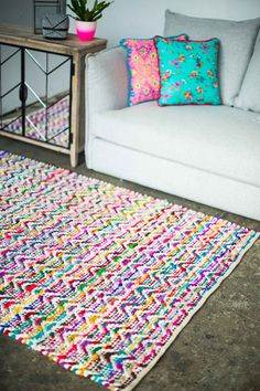 Brightening the family room! Rug from Milly and Eugene.
