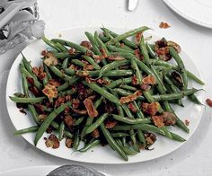 Green Beans with Crispy Pancetta, Mushrooms, and Shallots // Recipe: http://www.finecooking.com/recipes/green-beans-crispy-pancetta-mushrooms-shallots.aspx