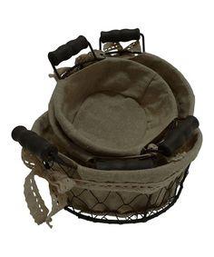 Round Linen & Wire Basket Set #zulily #zulilyfinds
