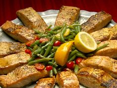 Pan Seared Salmon with Haricots Verts Salad recipe from Dinner: Impossible via Food Network