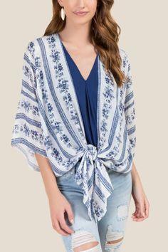 Halcyon Floral Front Tie Kimono