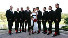 Black and White Wedding w/ Accent Red.   Fun Red Socks.