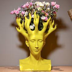 2016 new design creative handmade resin human head flower vase modern home…
