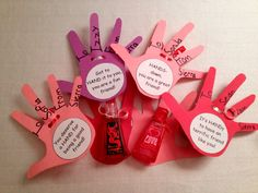 These are our Valentines. We are not allowed to have any food or candy. So we had to get creative. I found these hand sanitizers at Bath & Body Works- Dragon Blood for the boys & LOVE w/glitter for the girls. Then we traced our hand & added fun sayings like Hands-down you're a great friend. Kids had fun making them & their friends loved them.